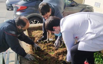 ASPACE Cáceres embellece sus jardines con la colaboración del IES Gabriel y Galán